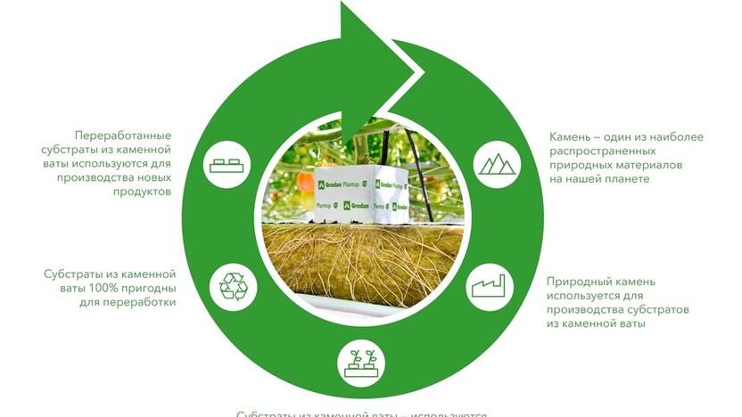 Infographic about recycle circle of Grodan products